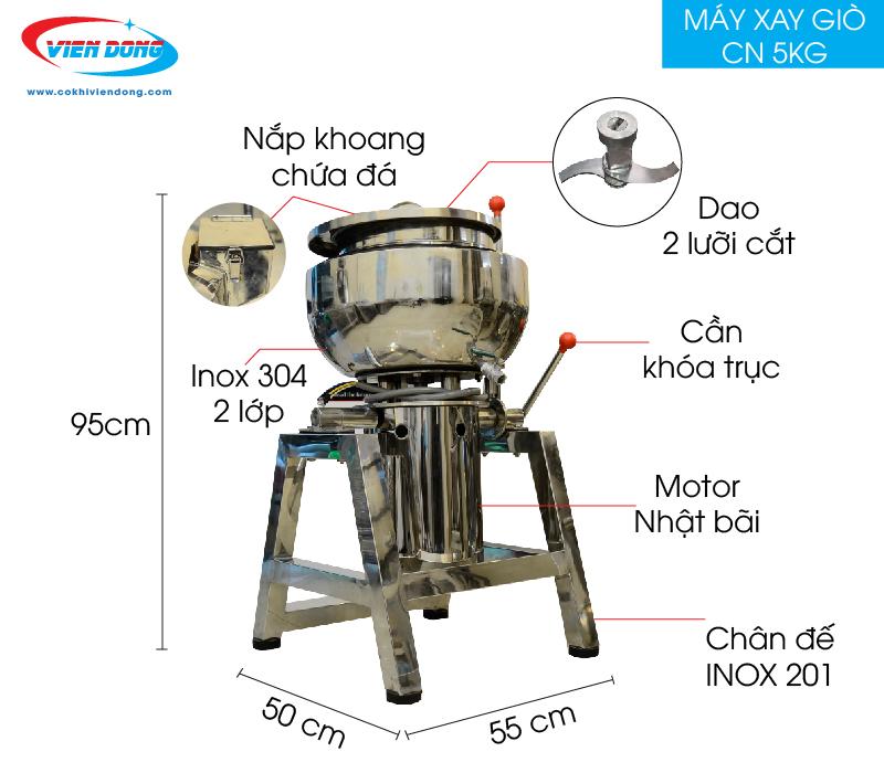 Chi tiết máy xay giò chả 5kg