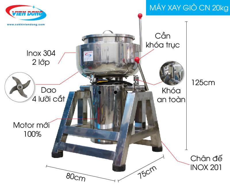 Cấu tạo máy xay thịt làm giò 20kg